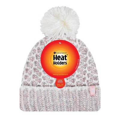 Heat Holders Ladies feathered knit pom pom hat lund coral/cream