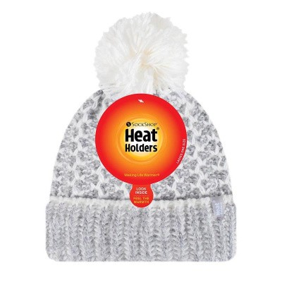 Heat Holders Ladies feathered knit pom pom hat lund grey/cream