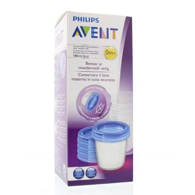 Avent Via voorraadbeker moedermelk 5 stuks + deksel