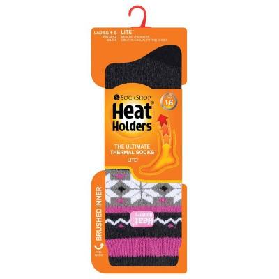 Heat Holders Ladies socks lite fairisle 4-8 rivington black/cha