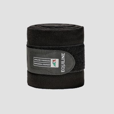 Foto van Equiline Polo Fleece Bandages Zwart 4 stuks