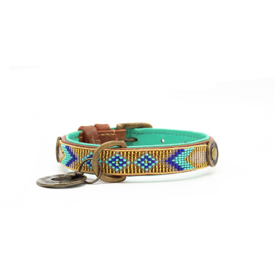 Foto van Dog With A Mission Indi Moon Halsband, goud/turquoise S