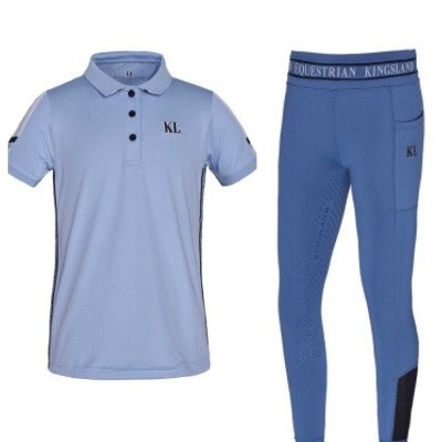 Foto van Kingsland Junior Set Meisjes Rijlegging + Polo Blauw Moonlight