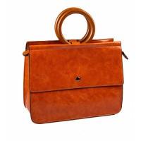 Vierkante tas met houten handvat Oranje