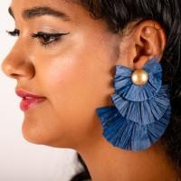 Goudkleurige oorstekers 3-laags flare donkerblauw