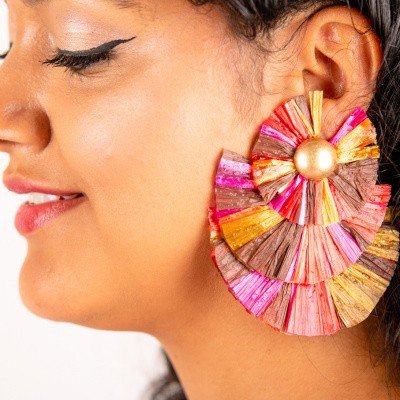 Goudkleurige oorstekers 3-laags flare kleurrijk