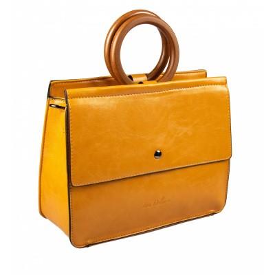 Vierkante tas met houten handvat Geel