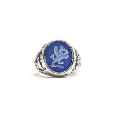 Foto van Damico Zegel Ring Blauw Zilver