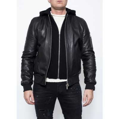 Foto van Dondup Leather Bomber Hood Black