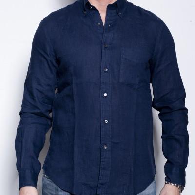 Foto van Aspesi Camicia Linen Navy Shirt