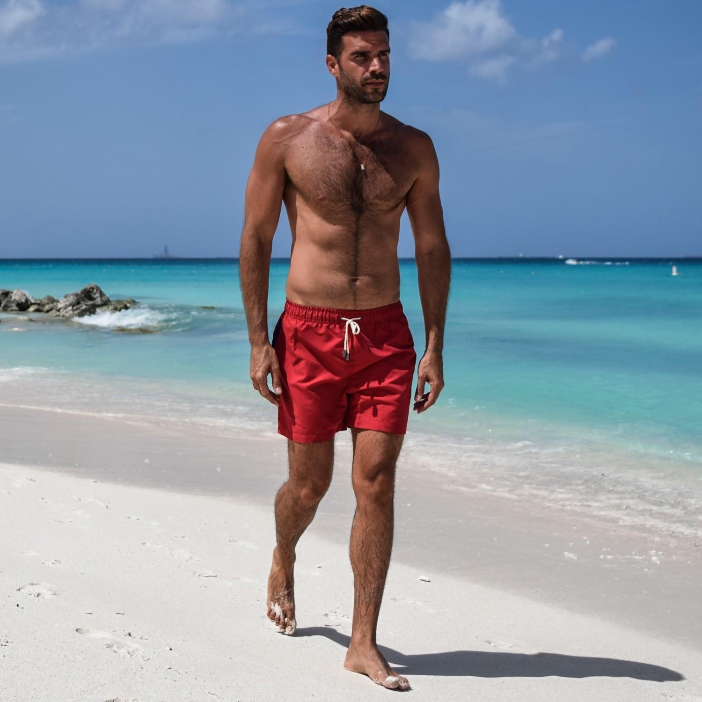 Rode Zwembroek Heren.Rode Zwembroek Miami Apple Red Sanwin Beachwear