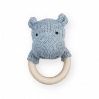Foto van Jollein - Rammelaar bijtring 7cm knit hippo soft blue