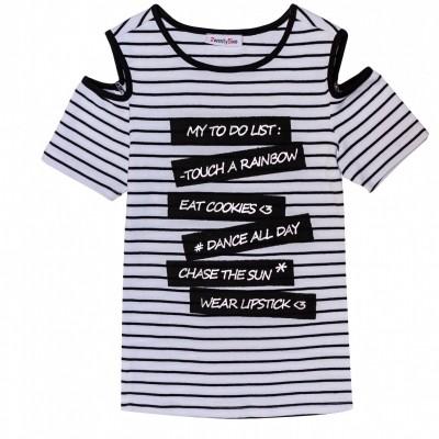 2WENTY5IVE - Amy t-shirt zwart/wit zo18