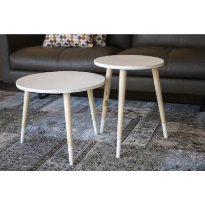 Set van 2 houten tafeltjes wit