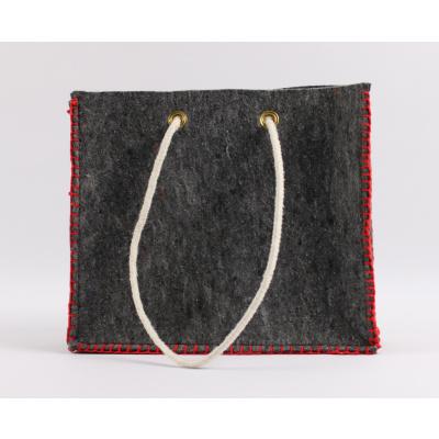 Foto van Eco tas met rood stiksel