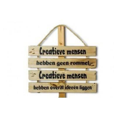 Wandbord met tekst 'Creatieve mensen'