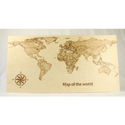 Foto van Wandbord Wereldkaart hout