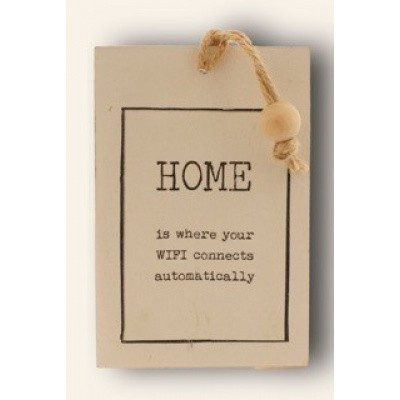 Houten kaart: Home is where the wifi connects automatically