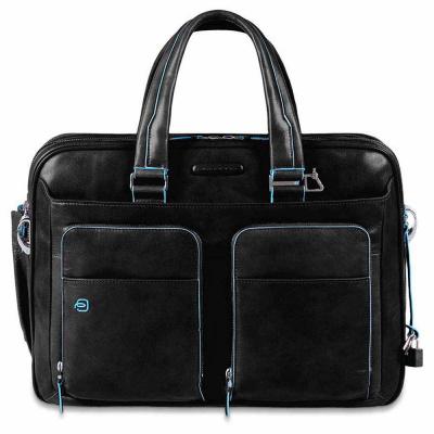 Foto van Piquadro B2 CA 2765 Blue Square Expandable Computer Briefcase Black