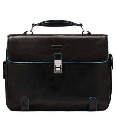 Foto van Piquadro B2 CA1066 Blue Square Computer Briefcase Black