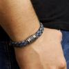 Afbeelding van Armband blauw leer 12 mm 21 cm 65.05972