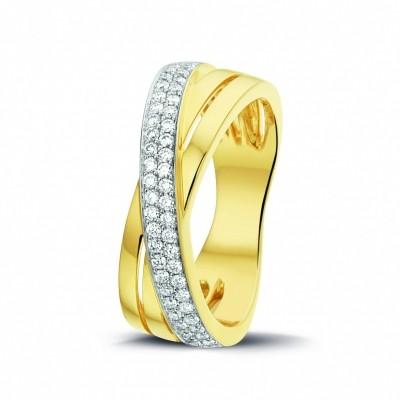 14 crt gouden ring met 0.32 crt H VS/SI briljant