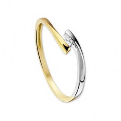 Bicolor gouden ring met zirkonia 42.05592