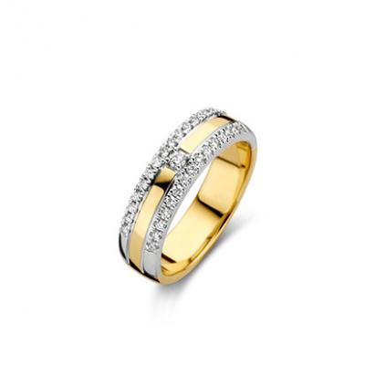 Foto van 14 krt bicolour gouden ring bezet met 0.30 krt diamant