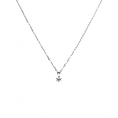 Foto van DIAMONFIRE ZILVEREN COLLIER DIAMONFIRE - 0.25 CT - 4 MM - 45 CM - SOLITAIRE - 0.25 CT - 4 MM