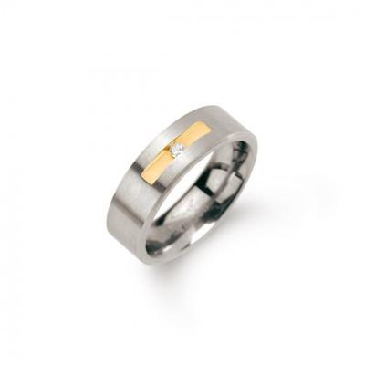 Titanium ring met diamant van Boccia 0101-08