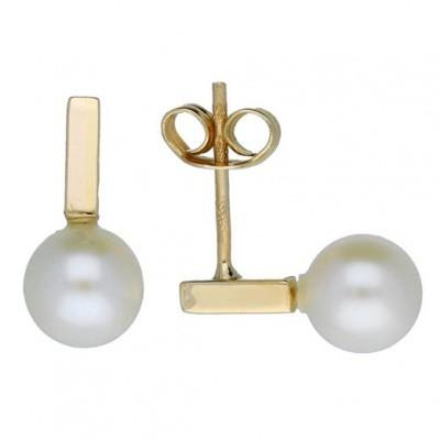 Foto van Glow oorbellen staafje met parel - goud 14 kt- zoetwaterparel 206.2044.00