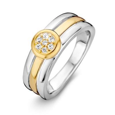 Ring zilver/goud zirkonia RF625963-56