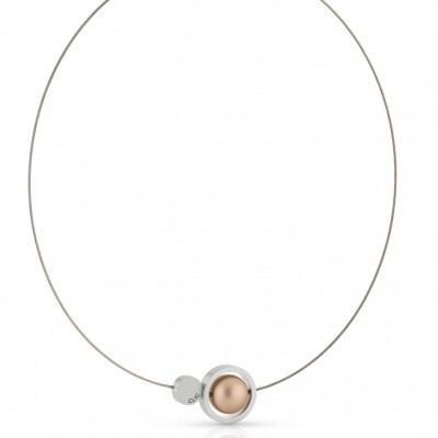 Collier mat/goud - ring rond 20 mm met kogel 14 mm