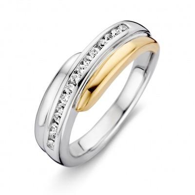Ring zilver/goud zirkonia RF625212-56