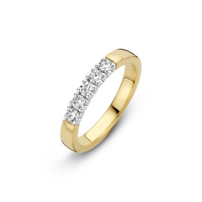 Foto van Gouden ring met 5 x 0.05 crt diamant 70.611.0525