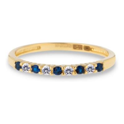 Foto van Geelgouden ring met transparant en blauw zirkonia RDC01-4384-01