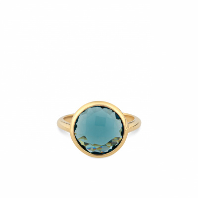 Foto van Italo Bottene gouden ring met London blue topaas AN2117 - SAT