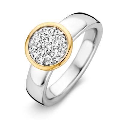 Ring zilver/goud zirkonia RF625244-56