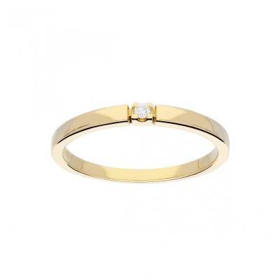 Glow gouden ring met glanzend diamant 1-0.02CT G/SI 214.2004.56