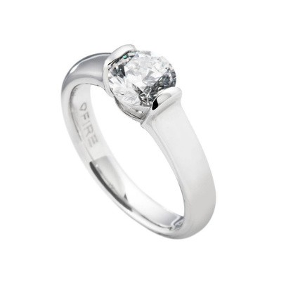 Diamonfire zilveren solitaire ring - MAAT 16.5 - ronde steen - 814.0009