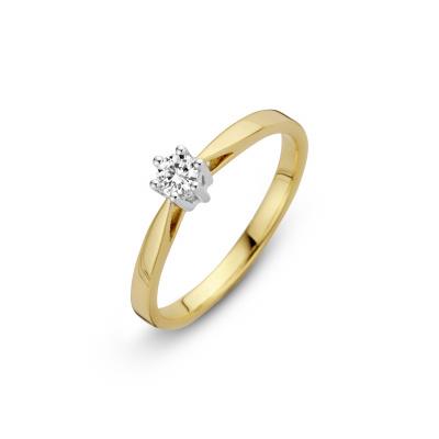 Bicolor gouden solitair ring met 0.40 crt diamant 707202040