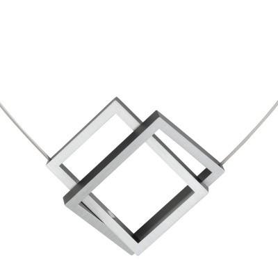 Collier mat/zwart - twee grote rechthoeken schuin in elkaar gesloten