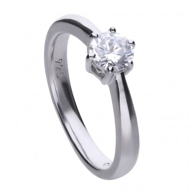 Foto van DIAMONFIRE ZILVEREN SOLITAIRE RING DIAMONFIRE - 0.75 CT