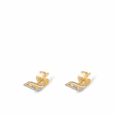 Foto van Bicolor gouden oorknoppen met zirkonia EMDD01-0535