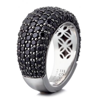 Foto van Esprit ELRG91530B170 zilveren ring met zwart zirkonia