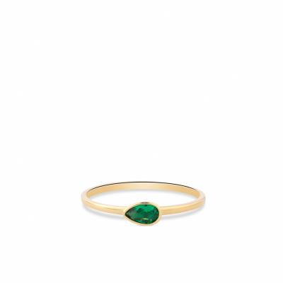 Geelgouden ring met druppel zirkonia in groen RDC01-4323-04