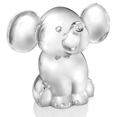 Foto van Zilverstad spaarpot zittende olifant 6035261