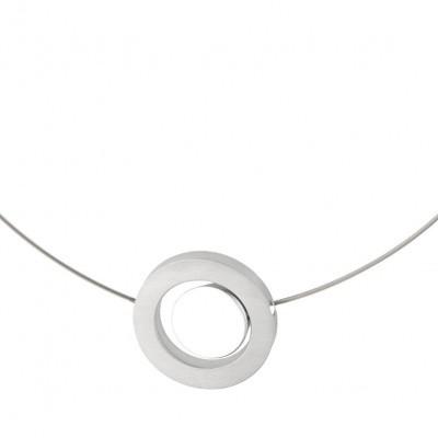 Collier mat/glans - ring met ronde sluiting ingesloten