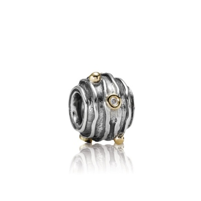 Pandora 790209D abstract silver charm, met 14 crt goud, 0.03ct TW h/vs diamanten