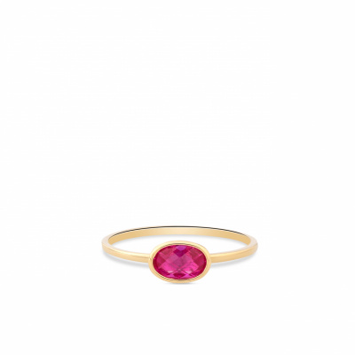 Geelgouden ring met ovale rode zirkonia RDC01-4308-03